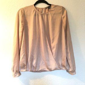 Vince silky wrap front career blouse keyhole back